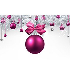 White background with pink christmas ball vector