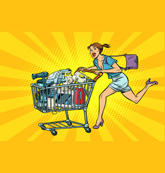 woman on sale of home appliances shopping cart vector image