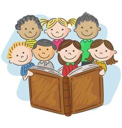 Cartoon little kid reading book vector image vector image