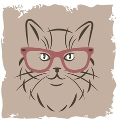 Cat with red glasses vector