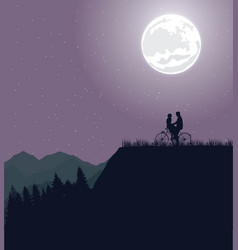 couple silhouette under the moon in bicycle riding vector image vector image