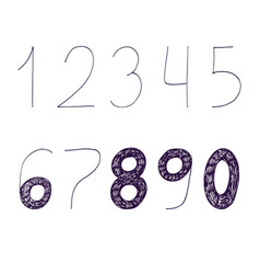 hand drawn with ink and nib numbers vector image