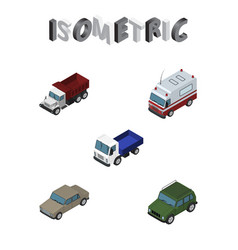 Isometric car set of lorry armored auto and vector