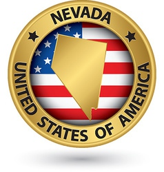 Nevada state gold label with state map vector image
