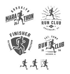 Set of vintage running club design elements vector image vector image