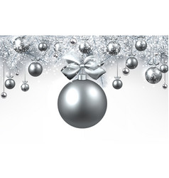 white background with silver christmas ball vector image vector image