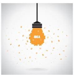 Creative puzzle light bulb idea concept background vector