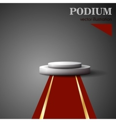 Empty white podium on gray background vector image