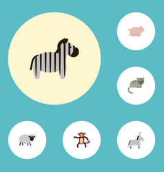 Flat icons kitty jackass mutton and other vector