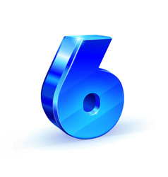 glossy blue six 6 number 3d on white vector image vector image