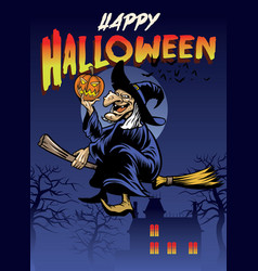 halloween greeting with the old witch vector image vector image