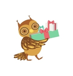 Owl Cute Animal Character Attending Birthday Party vector image vector image