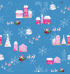 seamless pattern with christmas city vector image vector image