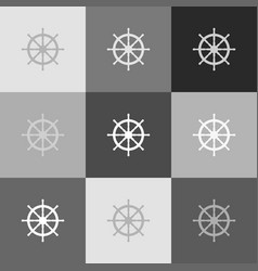 ship wheel sign grayscale version of vector image