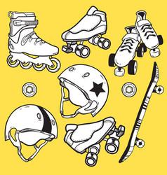 Summer outdoor activities sport equipment icons vector