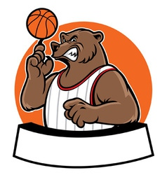 bear school basketball mascot vector image vector image