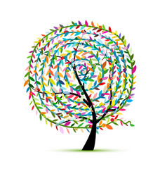 colorful tree with leaf spiral ornament vector image vector image