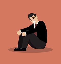 Desperate businessman sitting alone vector image vector image