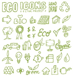 eco icons hand draw 1 vector image vector image