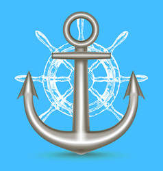 realistic metal anchor and ship steering wheel vector image vector image