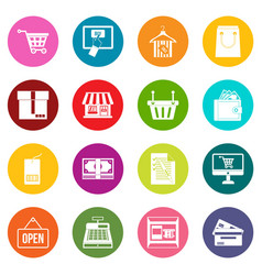 shopping icons many colors set vector image