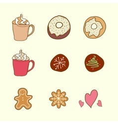 Set of coffee cookies and cakes vector image vector image