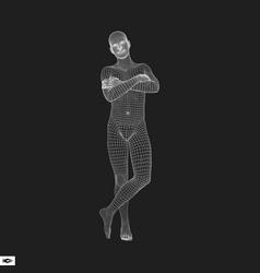 3d model of man geometric design human body wire vector