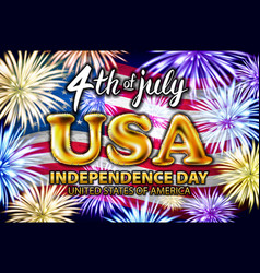 4 th of july usa gold balloons united states vector image