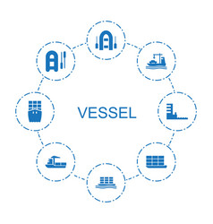 8 vessel icons vector