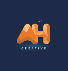 Ah letter with origami triangles logo creative vector