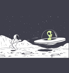Astronaut catching up with an alien vector