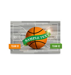 basketball field with a basketball ball vector image