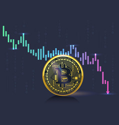 Bitcoin cryptocurrency crisis on the market shown vector