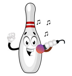 Bowling pin with microphone on white background vector