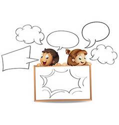 Boy and girl with speech bubble templates vector