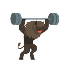 Bull exercising with barbell sportive wild animal vector