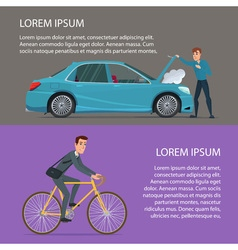 Car crash buying a bike Cartoon poster Banners vector