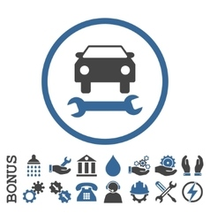 Car Repair Flat Rounded Icon With Bonus vector image