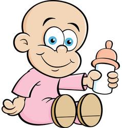 Cartoon baby holding a baby bottle vector