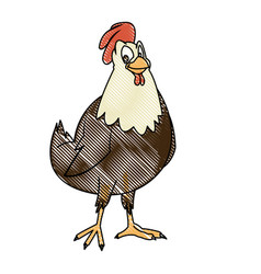 cartoon hen bird farm animal domestic image vector image