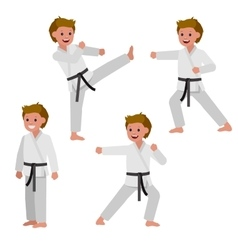 Cartoon kid wearing kimono martial art vector image