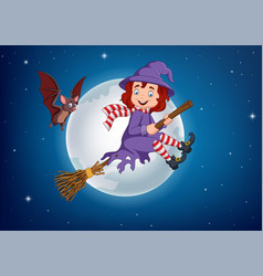 cartoon witch flying use a broomstick vector image