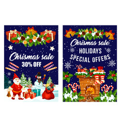 Christmas decorations fireworks sale poster vector