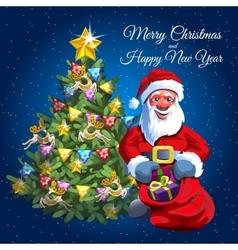 Christmas tree and Santa with presents bag vector image vector image
