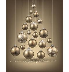 Christmas tree with golden christmas balls vector image