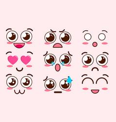 Collection cute lovely kawaii emoticon emoji vector