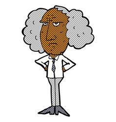 Comic cartoon big hair lecturer man vector