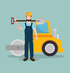 Construction worker with under construction icons vector