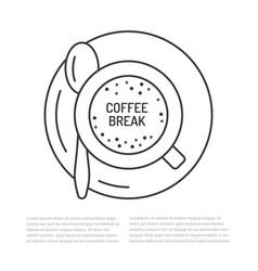 cup of coffee flat line espresso vector image