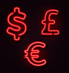 currency neon symbols vector image